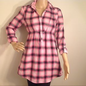 PINK VICTORIA SECRET PLAID PINK/GRAY TUNIC TOP